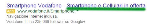 adwords annuncio vodafone offerta cellulari